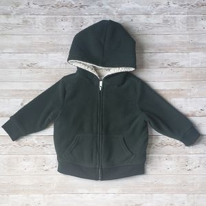 Old Navy Green Fleece Hoodie with Sherpa Lining
